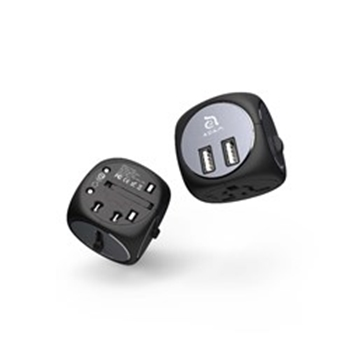 Picture of OMNIA TA502 Travel Adapter - 2 x USB Type-A / Socket & Plug: US/UK /AU/EU  - Bla